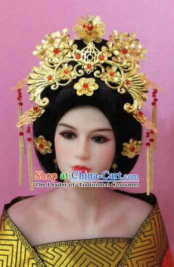 Traditional Handmade Chinese Hair Accessories Empress Golden Phoenix Coronet, China Tang Dynasty Queen Hairpins Complete Set for Women