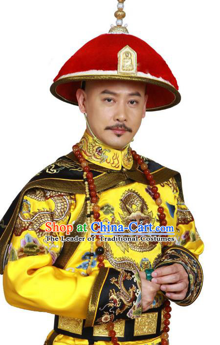 Traditional Handmade Chinese Hair Accessories Qing Dynasty Emperor Headwear, China Manchu Majesty Hats for Men