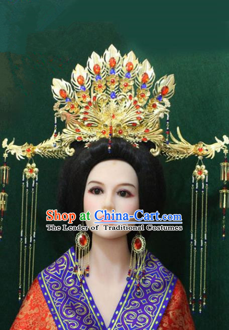 Traditional Handmade Chinese Hair Accessories Big Phoenix Coronet Complete Set, China Tang Dynasty Phoenix Tassel Hairpins for Women