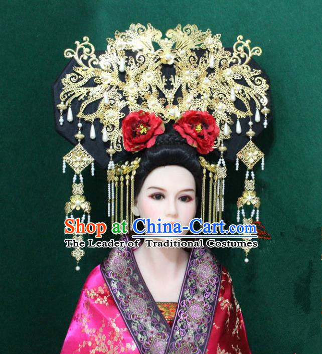 Traditional Handmade Chinese Hair Accessories Manchu Empress Phoenix Coronet, China Qing Dynasty Peony Tassel Hairpins for Women