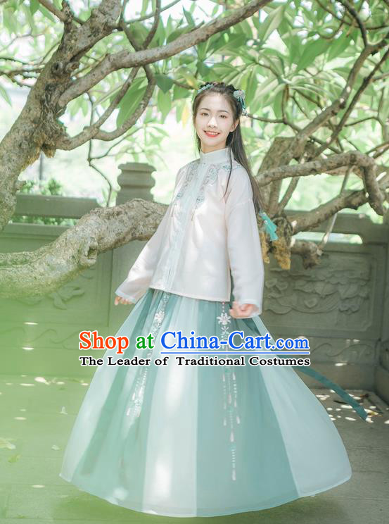 Traditional Chinese Ancient Hanfu Costumes, Asian China Ming Dynasty Princess Embroidery Blouse and Skirts Complete Set for Women
