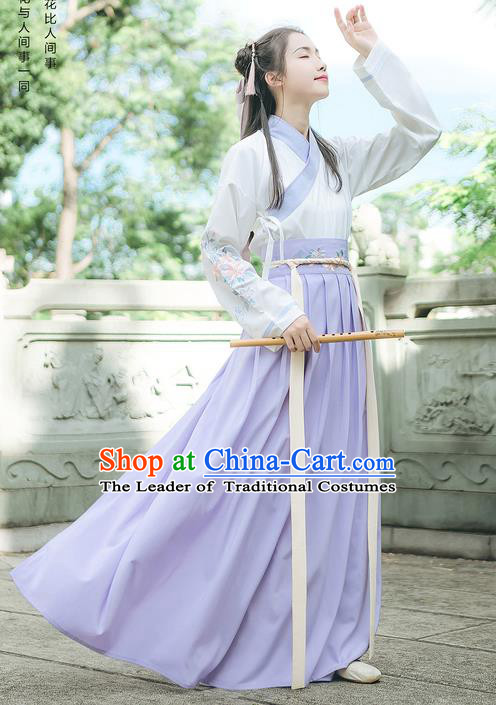 Traditional Chinese Ancient Hanfu Swordswoman Costume, Asian China Han Dynasty Young Lady Embroidery Clothing Complete Set
