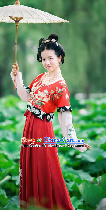 Asian China Ancient Tang Dynasty Costume Slip Skirt Half-Sleeves Complete Set, Traditional Chinese Princess Embroidered Clothing for Women