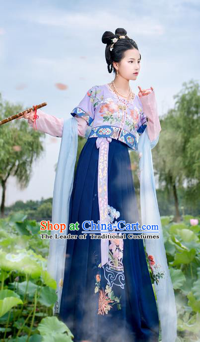 Asian China Ancient Tang Dynasty Costume Purple Half-Sleeves and Slip Skirt Complete Set, Traditional Chinese Princess Embroidered Clothing for Women