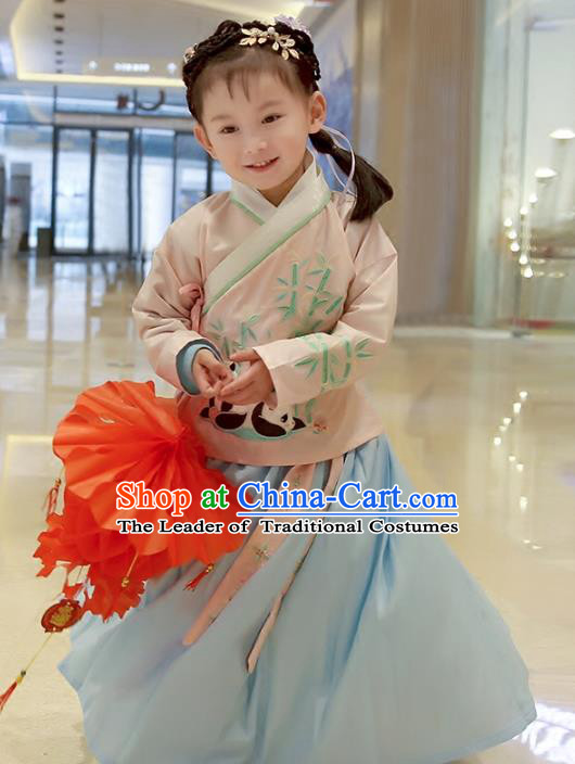 Asian China Ancient Ming Dynasty Children Costume Complete Set, Traditional Chinese Princess Embroidered Bamboo Pink Blouse and Skirts for Kids