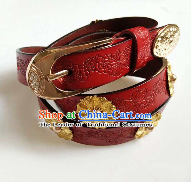 Traditional Handmade Chinese Accessories Tang Dynasty Emperor Belts, China Majesty Red Leather Waistband for Men