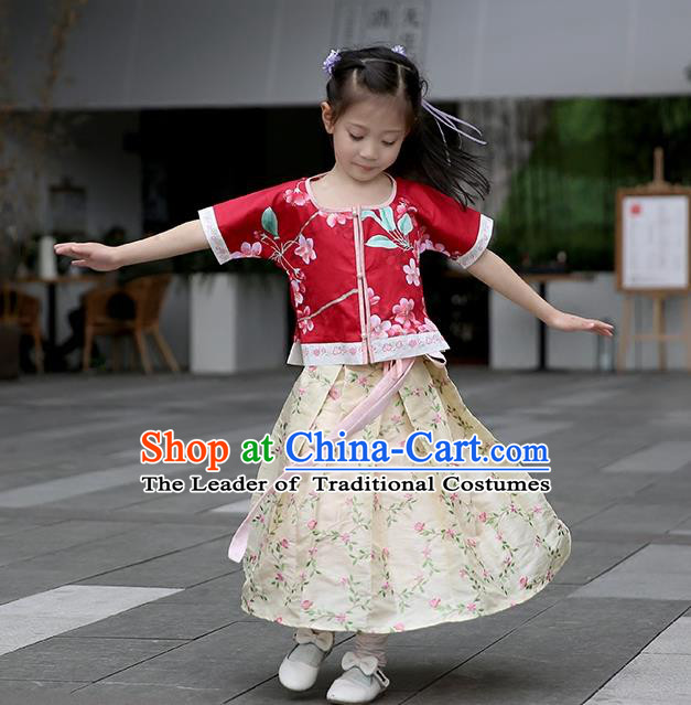 Traditional Chinese Ancient Hanfu Princess Costume Embroidered Red Blouse and Red Skirt, Asian China Ming Dynasty Palace Lady Clothing for Kids