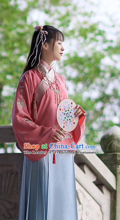 Traditional Chinese Ancient Hanfu Costume Embroidered Peach Pink Blouse, Asian China Ming Dynasty Palace Lady Clothing for Women