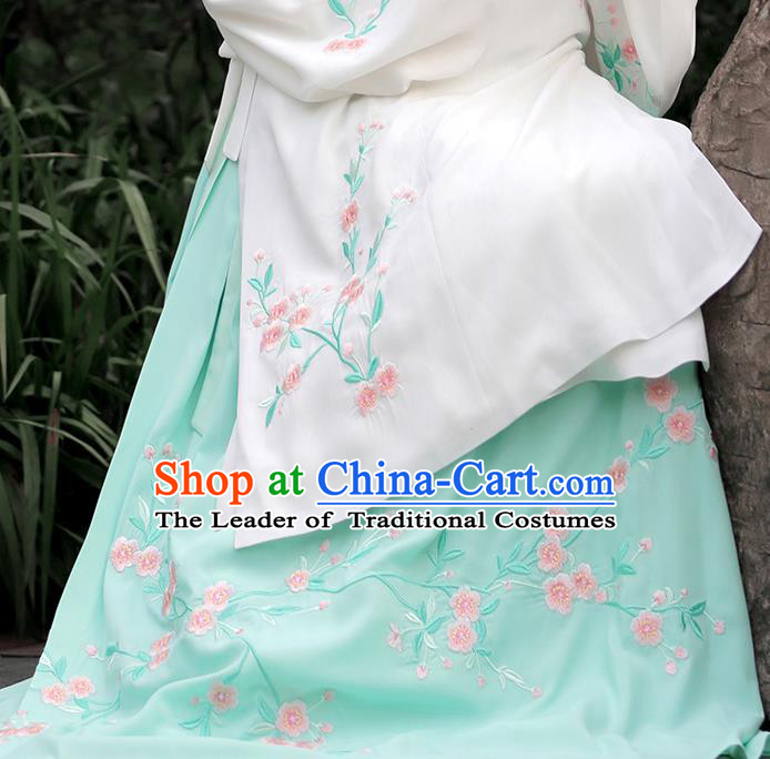 Asian Chinese Ming Dynasty Princess Costume Embroidery Begonia Green Skirts, Ancient China Palace Lady Embroidered Dress for Women