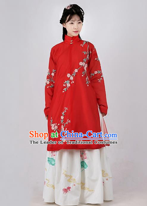 Asian Chinese Ming Dynasty Princess Costume Embroidery Begonia Red Coat, Ancient China Palace Lady Embroidered Dress for Women