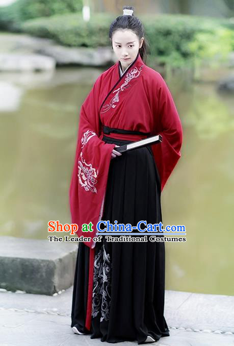 Traditional Chinese Ancient Hanfu Costume Swordsman Blouse and Skirts Complete Set, Asian China Han Dynasty Embroidered Clothing for Women