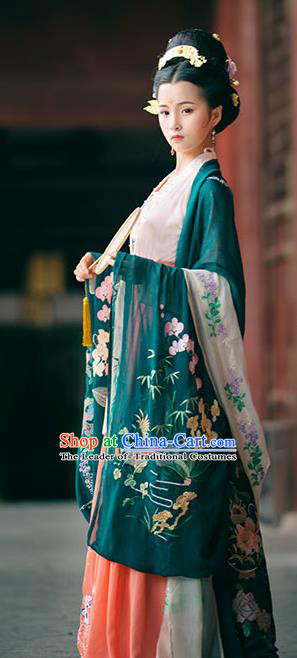 Traditional Chinese Ancient Hanfu Costume Deep Green Embroidered Cardigan, Asian China Jin Dynasty Wide Sleeve Cloak for Women