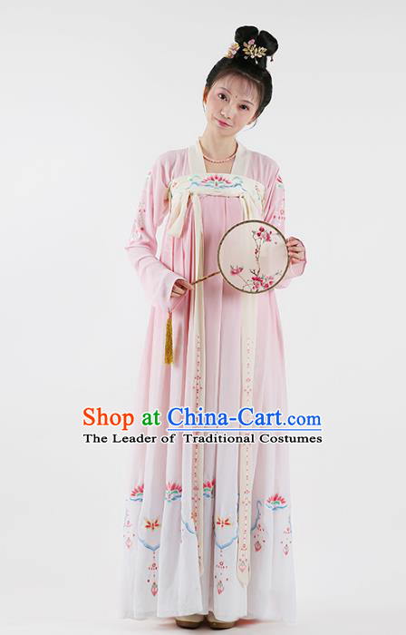 Traditional Chinese Ancient Princess Hanfu Costume Embroidered Blouse and Slip Skirt, Asian China Tang Dynasty Palace Lady Clothing for Women