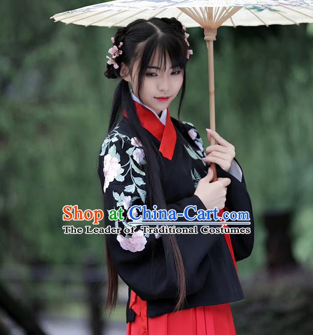 Traditional Chinese Ancient Young Lady Hanfu Costume Embroidered Black Blouse, Asian China Ming Dynasty Princess Upper Outer Garment Clothing for Women
