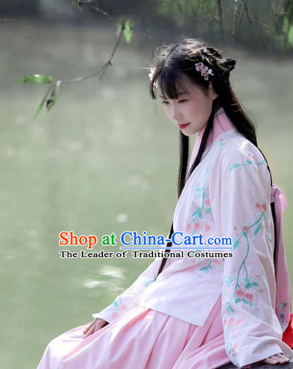 Traditional Chinese Ancient Hanfu Costume Embroidered Slant Opening Pink Blouse, Asian China Ming Dynasty Princess Upper Outer Garment Clothing for Women