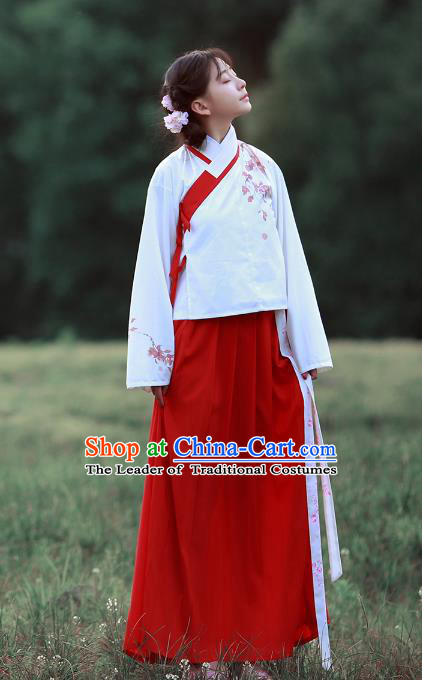Traditional Chinese Ancient Hanfu Costume Embroidered Slant Opening Blouse and Skirt, Asian China Ming Dynasty Princess Clothing for Women