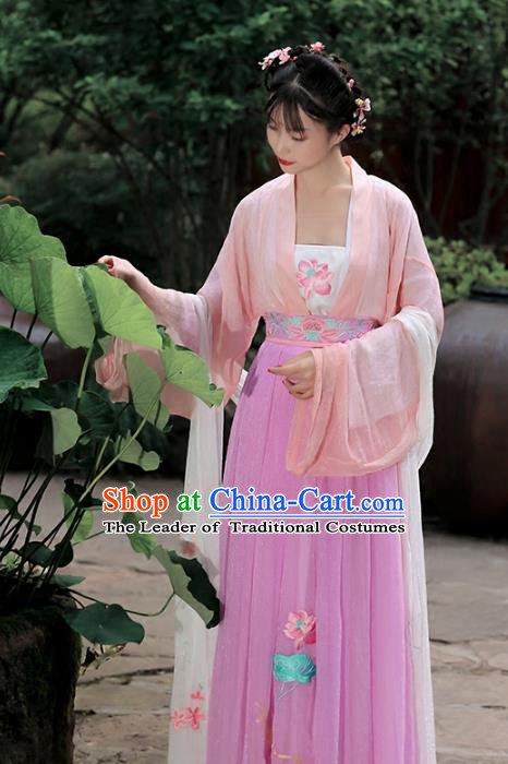Asian Chinese Tang Dynasty Hanfu Embroidered Costume, Traditional China Ancient Princess Clothing for Women