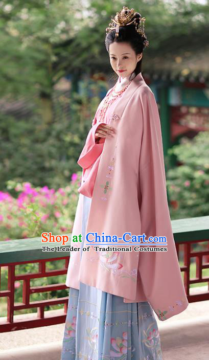 Asian Chinese Tang Dynasty Hanfu Imperial Concubine Costume Pink Embroidered Cloak, Traditional China Ancient Princess Cardigan Clothing for Women