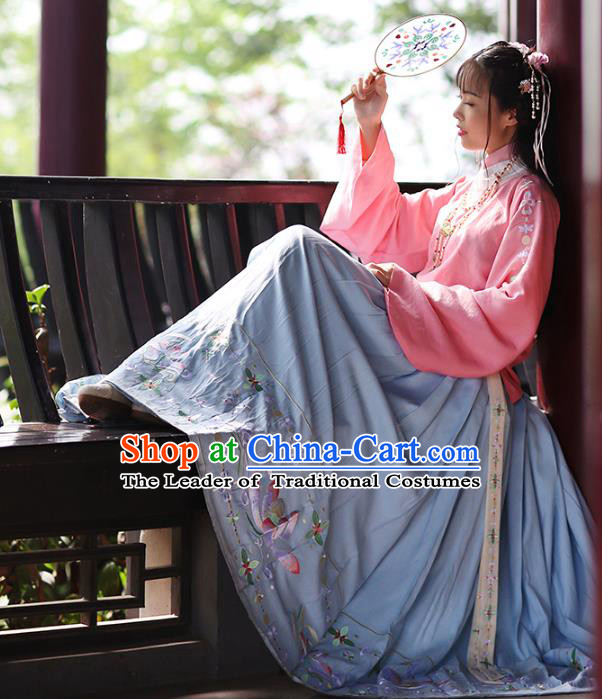 Asian Chinese Ming Dynasty Young Lady Hanfu Costume Embroidered Blue Skirt, Traditional China Ancient Princess Horse-face Skirt for Women