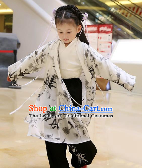 d9efdc23d Asian Chinese Han Dynasty Children Hanfu Costume Complete Set, Traditional  China Ancient Printing Bamboo Blouse and Pants Clothing for Kids