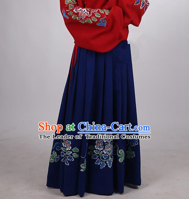 Asian Chinese Ming Dynasty Hanfu Costume Blue Embroidery Skirt, Traditional China Ancient Embroidered Dress Clothing for Women