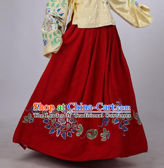 Asian Chinese Ming Dynasty Hanfu Costume Red Embroidery Skirt, Traditional China Ancient Embroidered Dress Clothing for Women