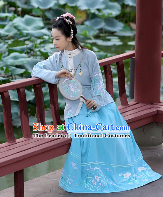 Asian Chinese Ming Dynasty Hanfu Costume Embroidered Blue Blouse, Traditional China Ancient Princess Upper Outer Garment Clothing for Women