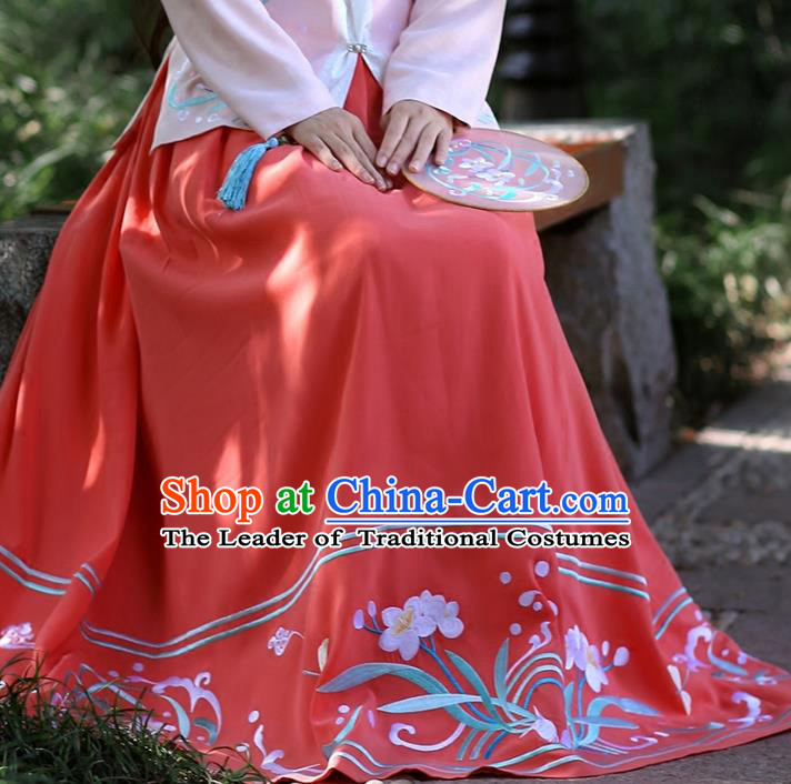Asian Chinese Ming Dynasty Hanfu Costume Embroidered Red Bust Skirt, Traditional China Ancient Princess Dress Clothing for Women
