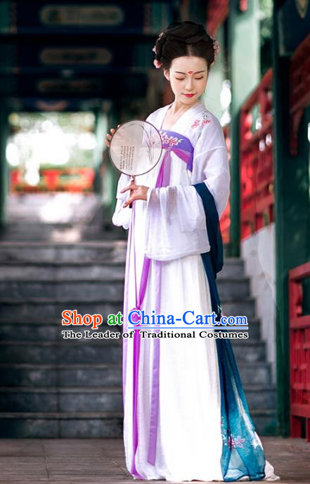 Asian Chinese Tang Dynasty Imperial Concubine Costume Hanfu Purple Embroidery Slip Skirt, Traditional China Ancient Embroidered Dress Clothing for Women