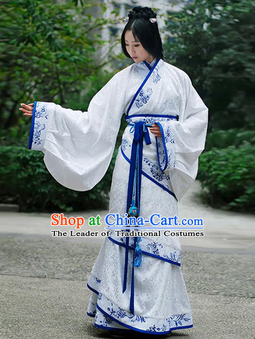Asian Chinese Han Dynasty Palace Lady Costume Hanfu Curve Bottom, Traditional China Ancient Princess Clothing for Women