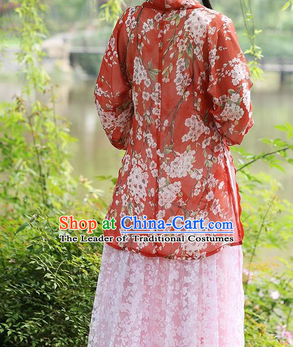 Asian Chinese Song Dynasty Young Lady Costume Hanfu BeiZi, Traditional China Ancient Princess Red Blouse for Women