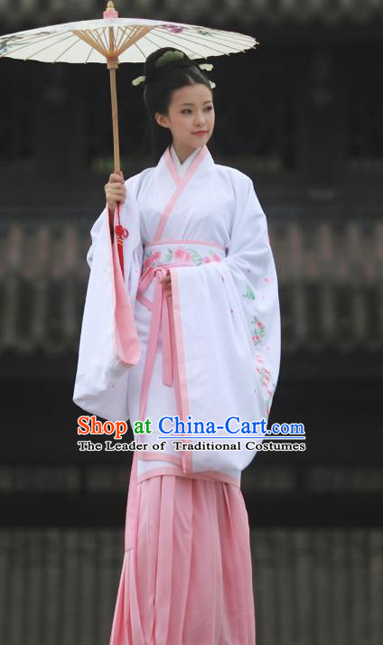 Asian Chinese Song Dynasty Young Lady Costume Hanfu Embroidered Pink Curve Bottom, Traditional China Ancient Princess Dress for Women