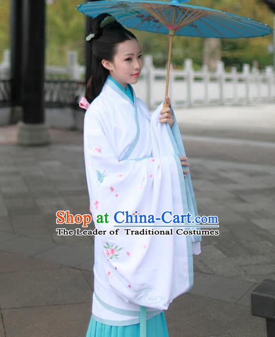 Asian Chinese Song Dynasty Young Lady Costume Hanfu Embroidered Blue Curve Bottom, Traditional China Ancient Princess Dress for Women