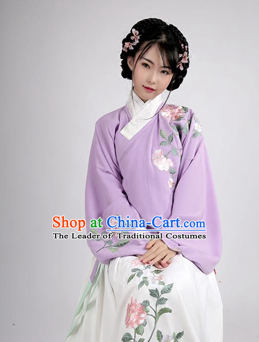 Asian Chinese Ming Dynasty Young Lady Costume Hanfu Embroidered Purple Blouse, Traditional China Ancient Princess Upper Outer Garment for Women