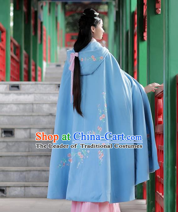 Asian Chinese Ming Dynasty Imperial Princess Mantle Costume, Traditional China Ancient Young Lady Embroidered Blue Cloak Clothing