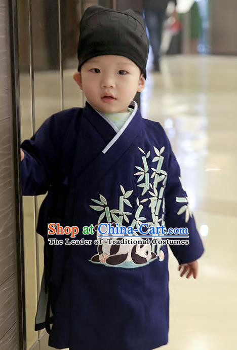 Asian Chinese Ming Dynasty Children Costume, Traditional China Ancient Embroidered Bamboo Navy Robe Clothing for Kids
