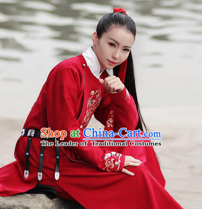 Asian Chinese Ming Dynasty Swordswoman Costume Hanfu Embroidery Red Robe, Traditional China Ancient Embroidered Clothing for Women
