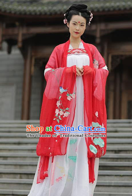 Asian Chinese Tang Dynasty Young Lady Costume Wide Sleeve Cardigan, Ancient China Princess Embroidered Red Cloak Clothing for Women