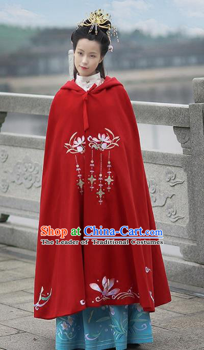 Asian Chinese MIng Dynasty Young Lady Costume Red Cloak, Ancient China Princess Embroidered Mantle Clothing for Women
