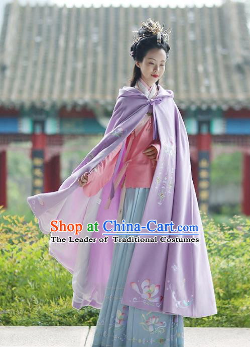 Asian Chinese MIng Dynasty Young Lady Costume Purple Cloak, Ancient China Princess Embroidered Mantle Clothing for Women