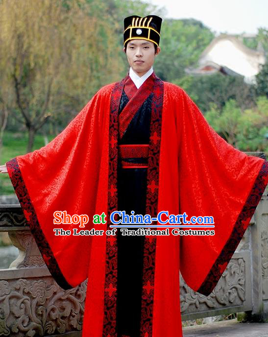 Asian Chinese Han Dynasty Wedding Costume, Ancient China Bridegroom Embroidered Red Clothing for Men