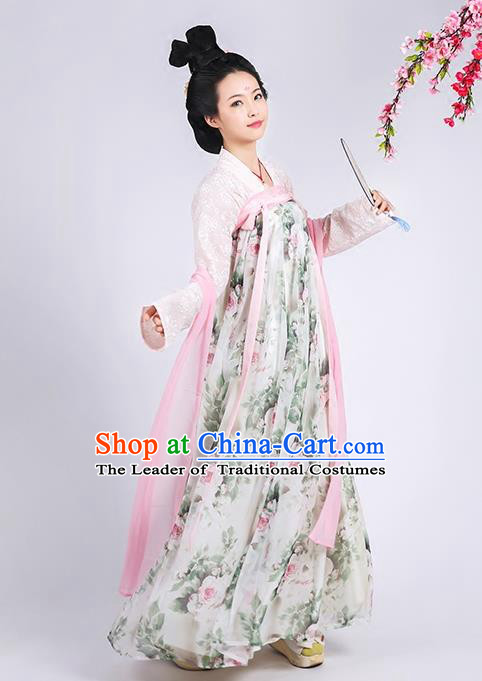 Asian Chinese Tang Dynasty Princess Costume Complete Set, Ancient China Palace Lady Printing Slip Skirt Clothing for Women