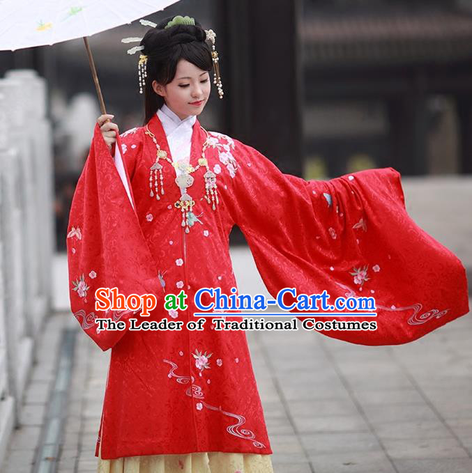 Asian Chinese Ming Dynasty Princess Costume Embroidery Red Cloak, Ancient China Palace Lady Embroidered Cardigan Clothing for Women