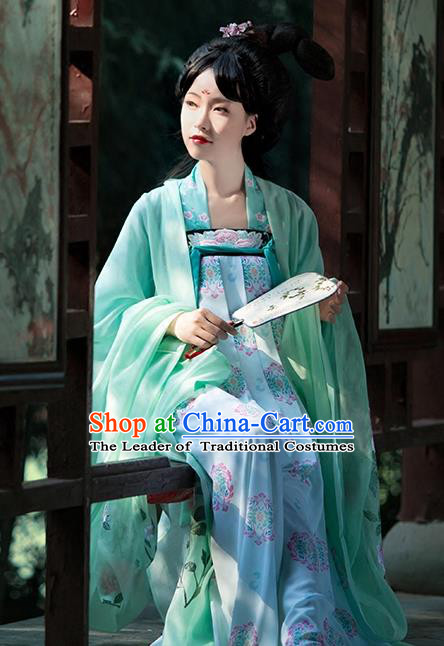 Asian Chinese Tang Dynasty Princess Embroidery Costume Green Cloak, Ancient China Palace Lady Embroidered Wide Sleeve Cardigan for Women