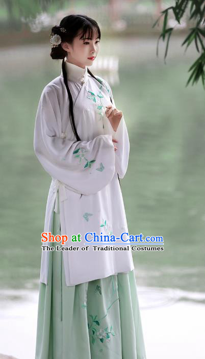 Asian Chinese Ming Dynasty Young Lady Costume Complete Set, Ancient China Princess Embroidered Pear Flower Hanfu Clothing for Women