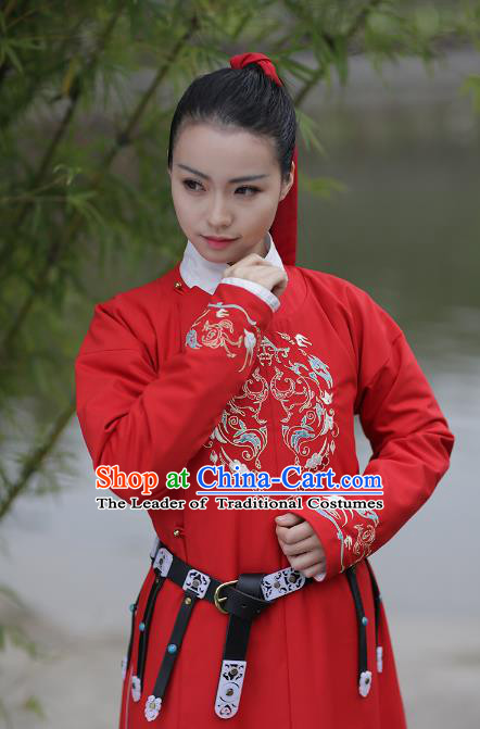 Asian Chinese Ming Dynasty Swordswoman Costume Red Long Robe, Ancient China Imperial Guards Embroidered Hanfu Clothing for Women