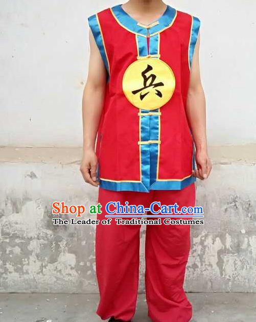 Traditional Chinese Peking Opera Soldier Costume, China Ancient Beijing Opera Imperial Bodyguard Clothing for Men