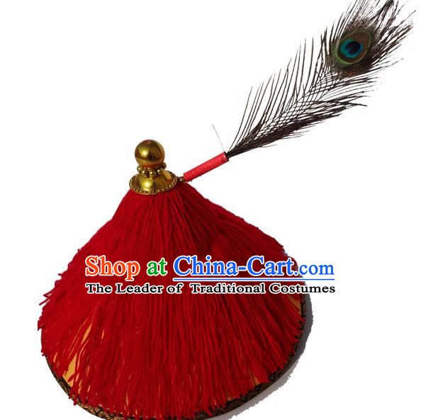 Traditional Chinese Qing Dynasty Soldier Hat, China Ancient Machu Imperial Bodyguard Headwear for Men