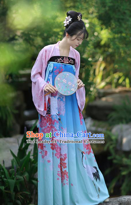 Asian Chinese Tang Dynasty Palace Lady Costume Printing Blue Dress, Ancient China Princess Hanfu Clothing for Women