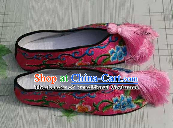 Traditional Chinese Peking Opera Diva Embroidered Shoes, China Ancient Beijing Opera Hua Tan Pink Blood Stained Shoes for Women